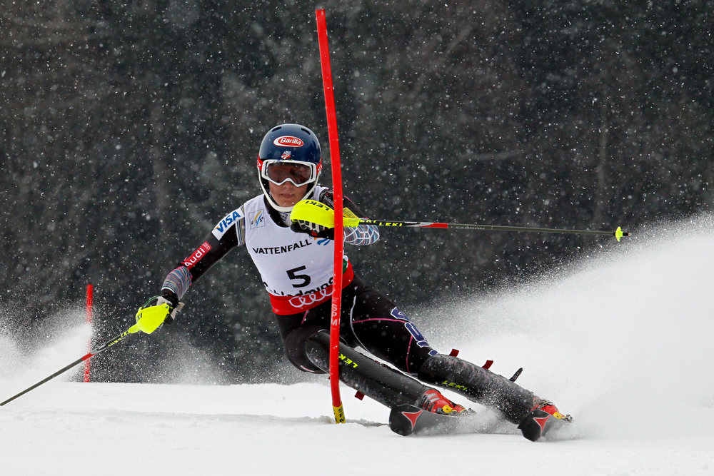 Description of . Mikaela Shiffrin of the USA competes during the Audi FIS Alpine Ski World Championships Women's Slalom on February 16, 2013 in Schladming, Austria. (Photo by Christophe Pallot/Agence Zoom/Getty Images)