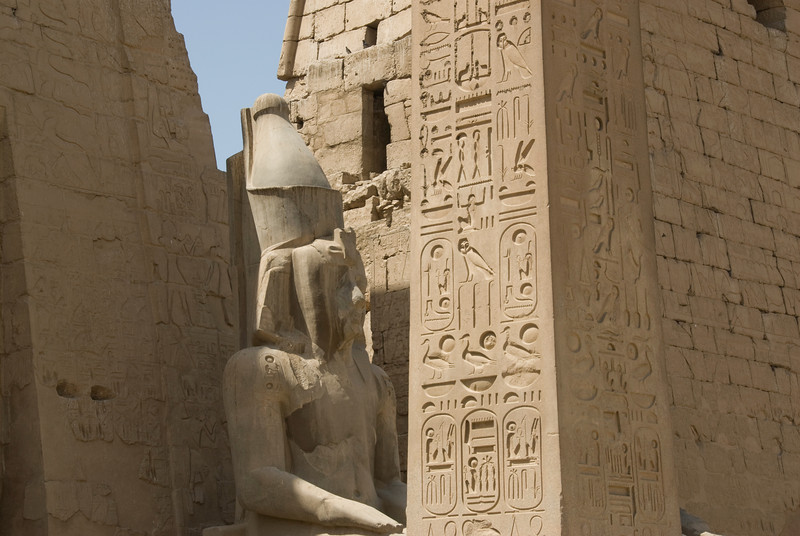 Ancient heiroglyphics on the walls of Luxor Temple - Luxor, Egypt