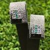Art Deco Diamond and Emerald Disc Earrings 0