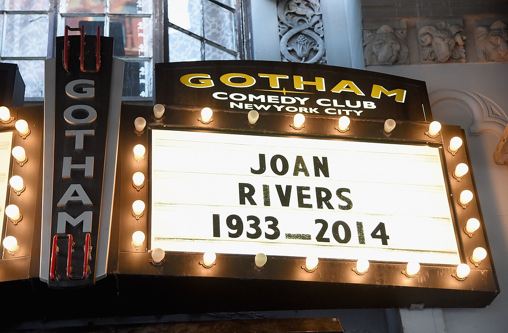 . Memorial for Joan Rivers on the Marquee of the Gotham Comedy Club on September 4, 2014 in New York City. Joan Rivers passed away on September 4, 2014 after suffering respiratory and cardiac arrest during vocal cord surgery on August 28, 2014.  (Photo by Jamie McCarthy/Getty Images)