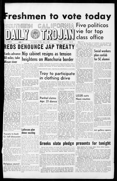 Daily Trojan, Vol. 36, No. 95, April 06, 1945