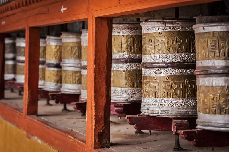Buddhist prayer wheels in Hemis monstery. Ladakh, India