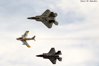 Heritage Flight (F-22, F-35, F-86)