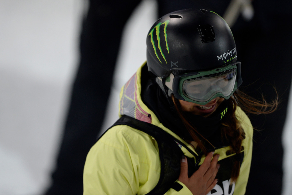. Gold medalist Chloe Kim reacts to winning the women\'s snowboard half pipe final. Winter X Games on Saturday, January 24, 2015. (Photo by AAron Ontiveroz/The Denver Post)
