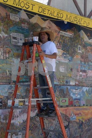 10 August 2017 Phil Yeh Works on His Historical Mural at the Site of the Original McDonalds in San Bernardino CA
