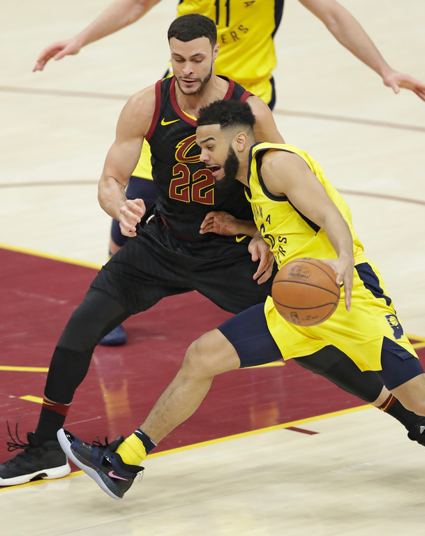 . Indiana Pacers\' Cory Joseph (6) drives against Cleveland Cavaliers\' Larry Nance Jr. (22) in the second half of Game 5 of an NBA basketball first-round playoff series, Wednesday, April 25, 2018, in Cleveland. (AP Photo/Tony Dejak)