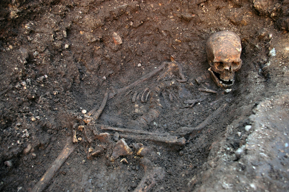 . The skeleton of Richard III is seen in a trench at the Grey Friars excavation site in Leicester, central England, in this picture provided by the University of Leicester and received in London on February 4, 2013. A skeleton with a cleaved skull and a curved spine entombed under a car park is that of Richard III, scientific tests confirmed, solving a 500-year-old mystery about the final resting place of the last English king to die in battle.  REUTERS/University of Leicester/Handout