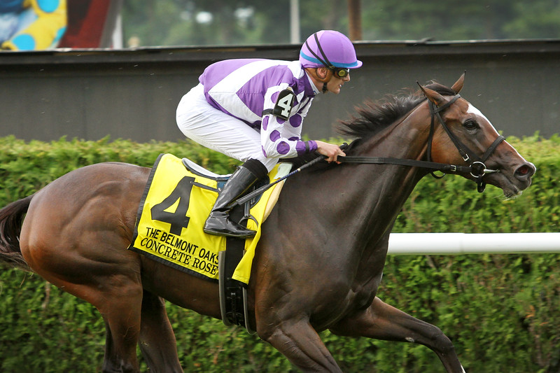 Concrete Rose (Twirling Candy) and jockey Julien Leparoux win the Belmont Oaks Invitational (Gr I) at Belmont Park 7/6/19. Trainer: George R. Arnold, II. Owner: Ashbrook Farm and BBN Racing, LLC