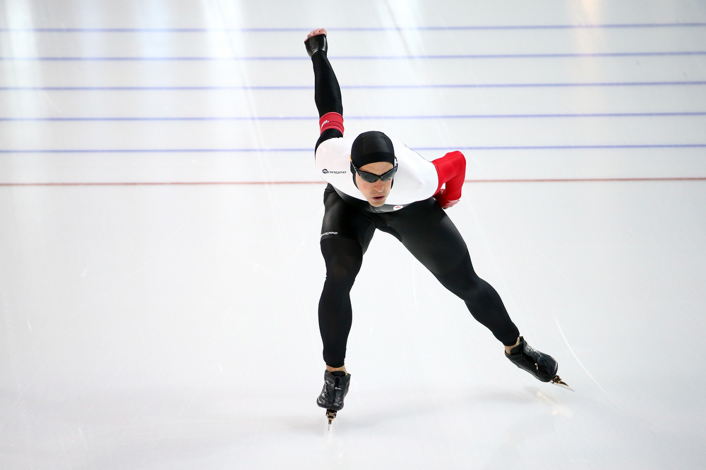. Denny Morrison of Canada competes during the Men\'s 1000m Speed Skating event during day 5 of the Sochi 2014 Winter Olympics at at Adler Arena Skating Center on February 12, 2014 in Sochi, Russia.  (Photo by Streeter Lecka/Getty Images)