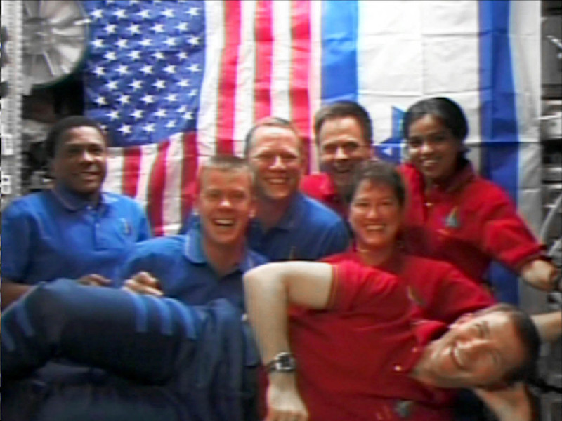 . In this image released by NASA TV, Tuesday, June 24, 2003 shows the crew of space shuttle Columbia posing for a group photo during their mission in January 2003. In front is Rick Husband, from left is Michael Anderson, William McCool, David M. Brown, Ilan Ramon, Laurel Clark and Kalpana Chawla. This image  was recovered during search efforts since the loss of Columbia on Feb. 1, 2003. (AP Photo/NASA TV)