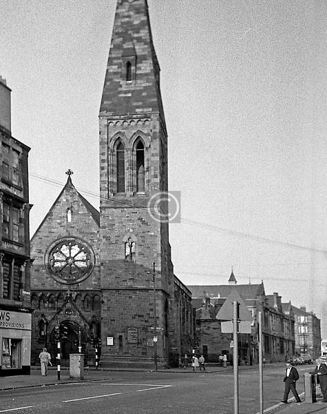 Candlish Memorial Church (J.Honeyman, 1875), corner of Cathcart Rd and Calder St, demolished in 1997.  July 1975