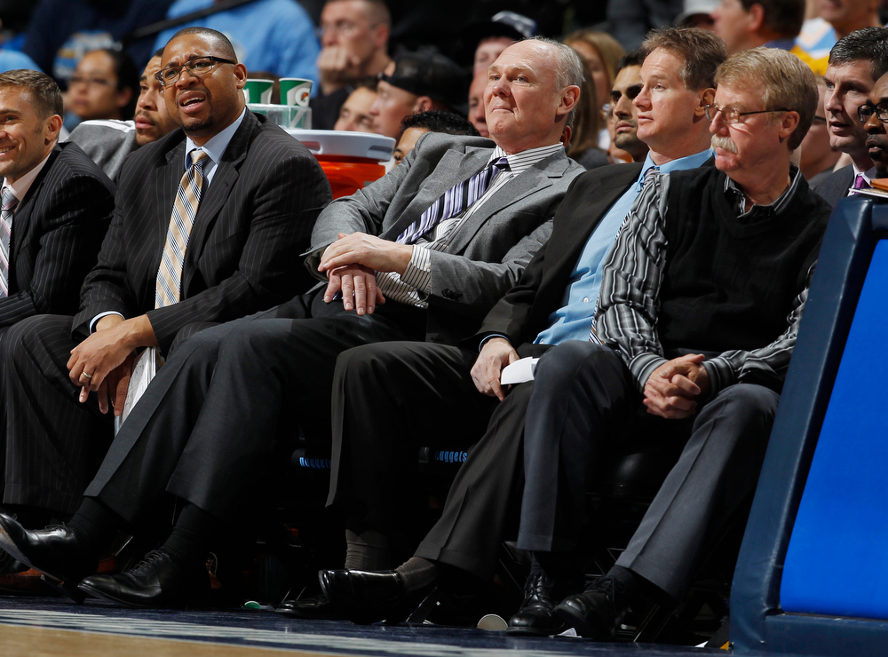. As time dwindles in the fourth quarter, Denver Nuggets head coach Geoge Karl, second from left, reacts to his team\'s struggles along with assistant coach Melvin Hunt, left, assistant coach John Welch and head trainer Jim Gillen, right, as the Golden State Warriors claim a 131-117 victory over the Nuggets in Game 2 of the teams\' NBA first-round playoff series in Denver on Tuesday, April 23, 2013. (AP Photo/David Zalubowski)