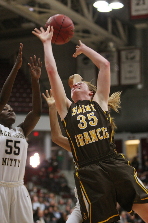 . St. Francis\' Jennifer Lucian shoots in the third quarter during the CCS Open Division girls basketball finals at Santa Clara University in Santa Clara, Calif. on Saturday, March 2, 2013. The Archbishop Mitty Monarchs beat the Saint Francis Lancers, 41-32. (Jim Gensheimer/Staff)