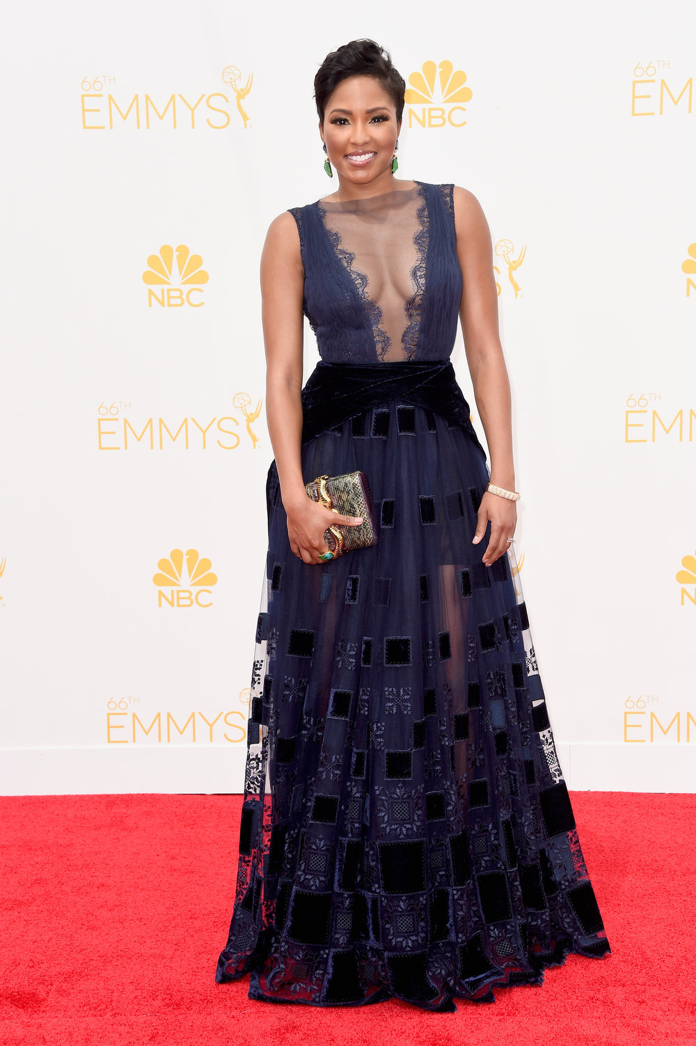 . TV reporter Alicia Quarles attends the 66th Annual Primetime Emmy Awards held at Nokia Theatre L.A. Live on August 25, 2014 in Los Angeles, California.  (Photo by Frazer Harrison/Getty Images)