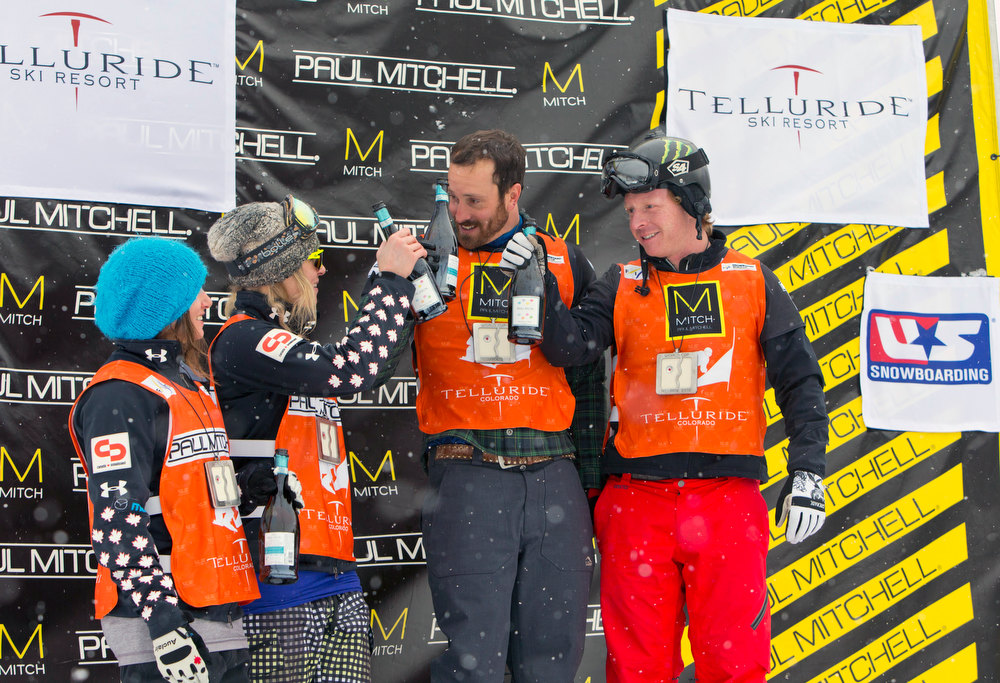 . In this image provided by Nathan Bilow Photography, from left to right, Canada\'s Maelle Ricker and Dominique Maltais, who won the women\'s event, and United States\' Seth Wescott and Nate Holland, who won the men\'s snowboard cross team World Cup event, celebrate on the podium in Telluride, Colo., Saturday, Dec. 15, 2012. (AP Photo/Nathan Bilow)