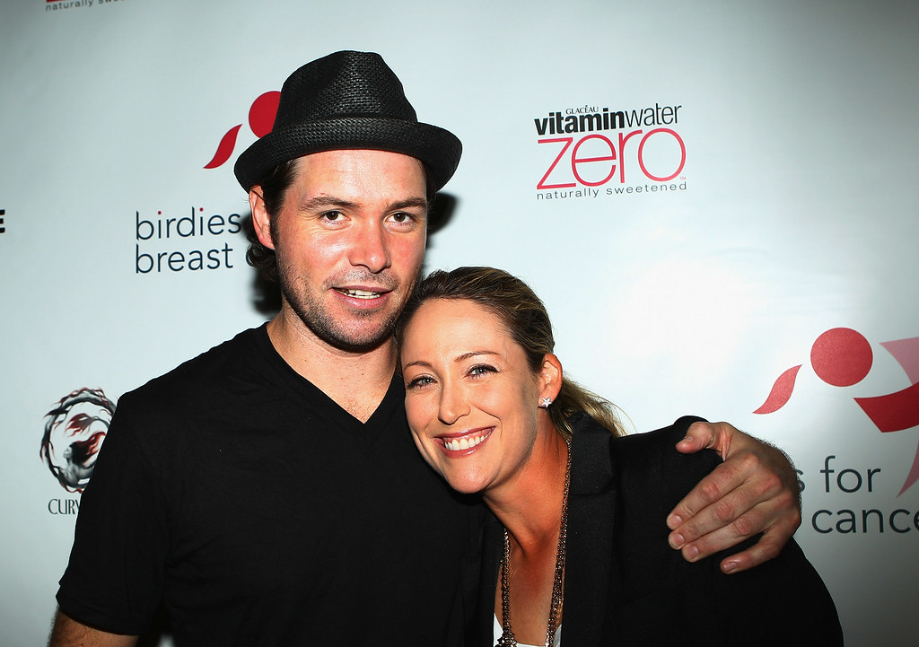 . LPGA player Cristie Kerr (R) poses with Michael Johns from American Idol at the Birdies for Breast Cancer Foundation Liberty Cup kick-off celebration at Dream Downtown on August 29, 2011 in New York City.  (Photo by Scott Halleran/Getty Images)