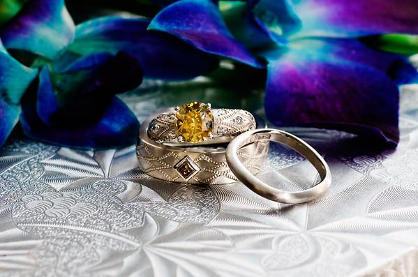 Macro shot of wedding rings