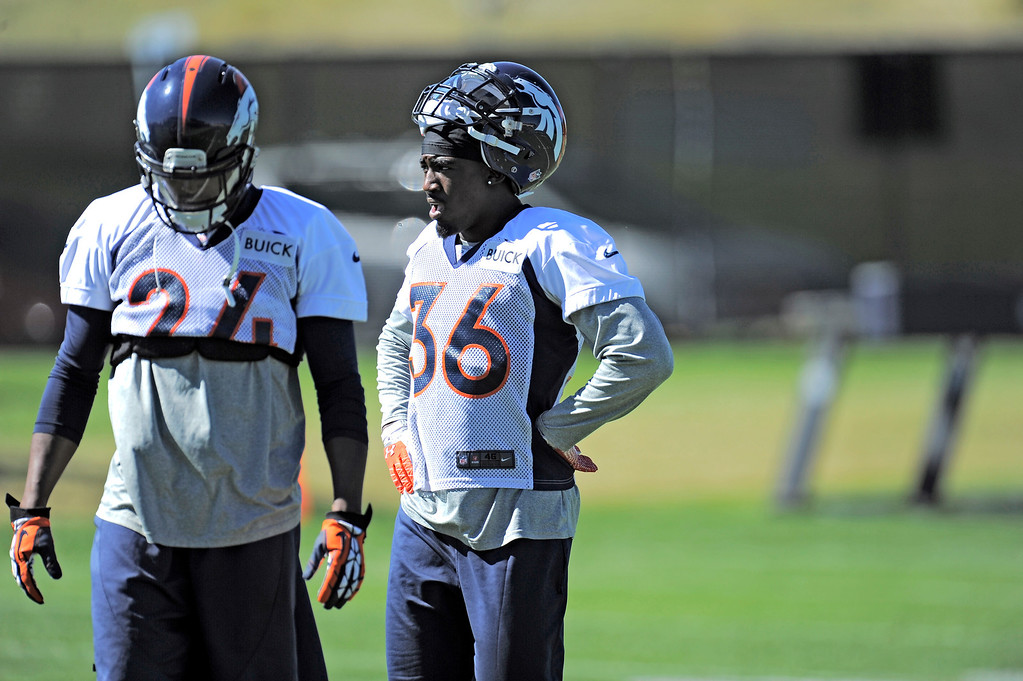 . Cornerback Kayvon Webster (36) of the Denver Broncos watches drills during practice September 25, 2013 at Dove Valley. (Photo by John Leyba/The Denver Post)