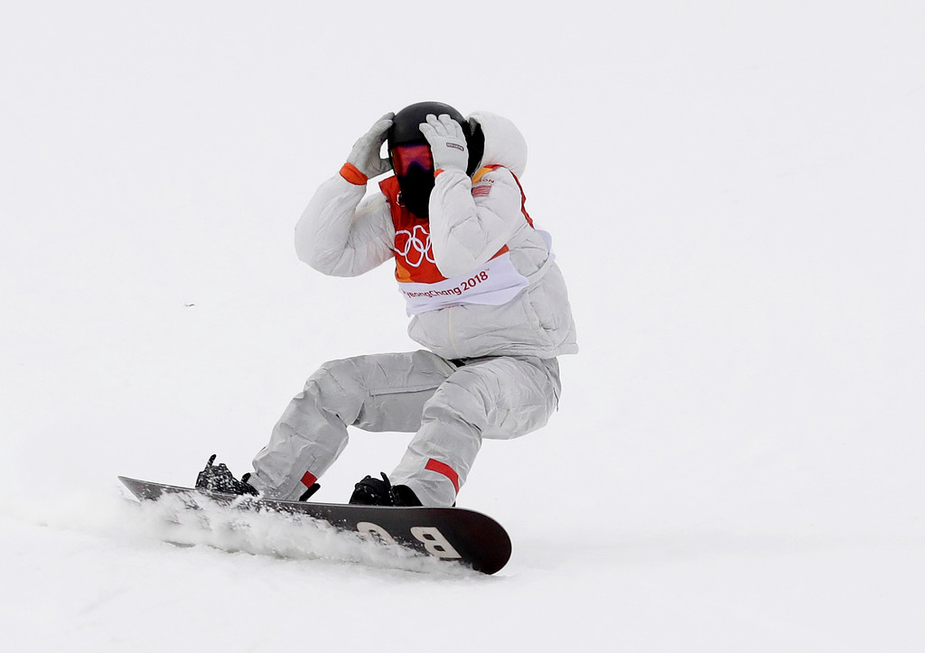 . Gold medal winner Shaun White, of the United States, reacts after finishing his run during the men\'s halfpipe finals at Phoenix Snow Park at the 2018 Winter Olympics in Pyeongchang, South Korea, Wednesday, Feb. 14, 2018. (AP Photo/Gregory Bull)