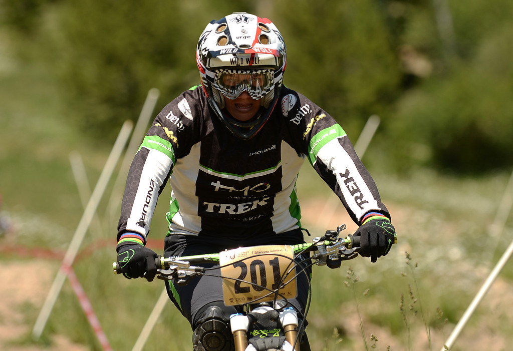 . WINTER PARK, CO. - July 26: Tracy Moseley is in the first stage of First international Enduro World Cup Championship ever in U.S. at Winter Park, Colorado. July 26, 2013. Enduro mountain biking - high speed downhill racing. (Photo By Hyoung Chang/The Denver Post)