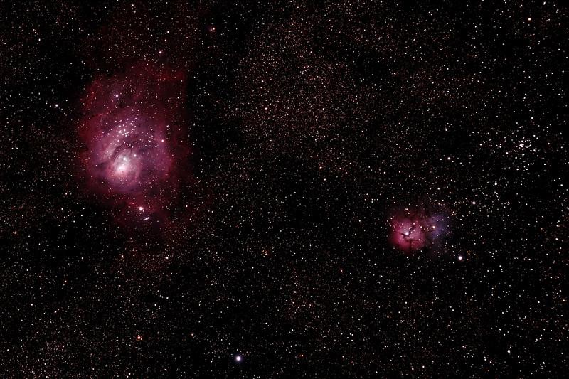 Messier M8 - NGC6523 - Gum 72 - Lagoon Nebula and Cluster, Messier M20 - NGC6514 - Gum76 -Trifid Nebula - 26/8/2011 - Dark Sky site near Wagin (Reprocessed stack)