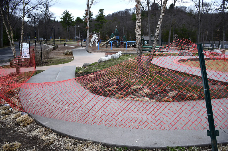 3/31/2020 Mike Orazzi | Staff The skate park in Bristol's Rockwell Park is closed for the foreseeable future because of Covid-19.