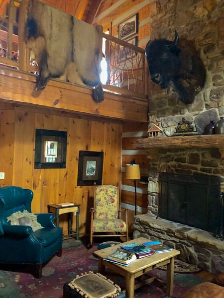fishing cabin with animal skins and a buffalo head over a chimney