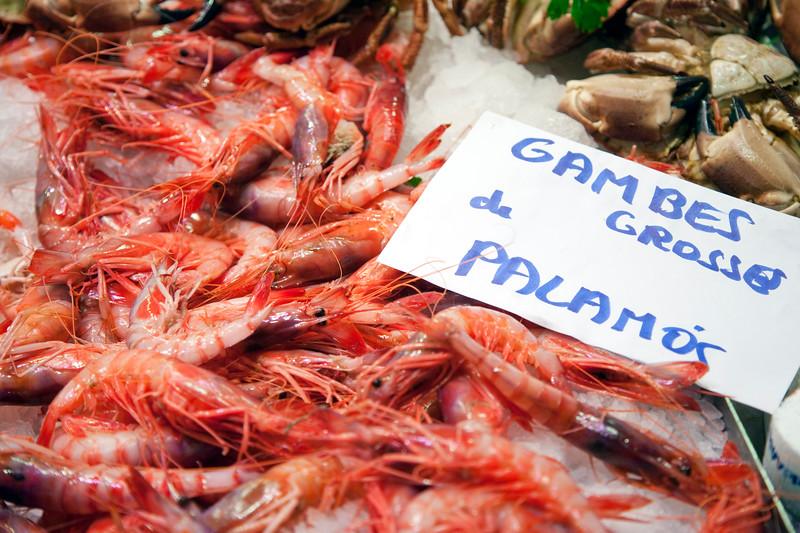 Palamos red prawns, Boqueria market, town of Barcelona, autonomous commnunity of Catalonia, northeastern Spain