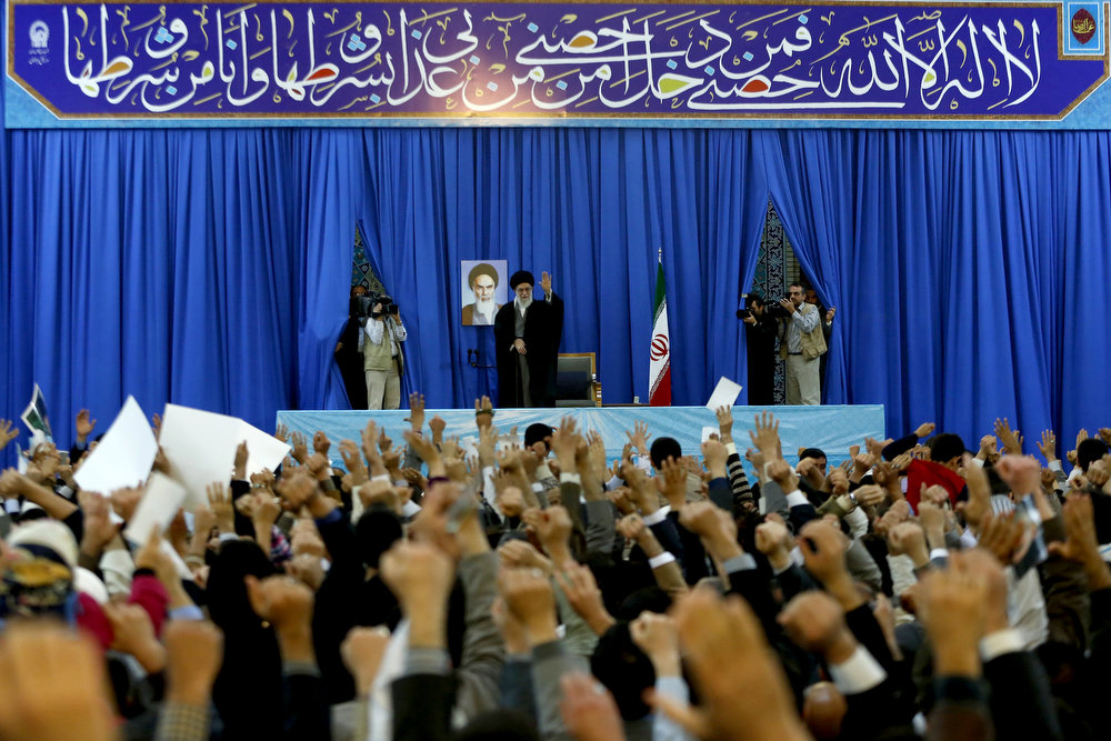 . In this photo released by an official website of the Iranian supreme leader\'s office on Thursday, March 21, 2013, Iran\'s Supreme Leader Ayatollah Ali Khamenei waves to a crowd in northeastern Iran on the first day of the new Persian calendar year. Iran\'s Supreme Leader says he\'s not opposed to direct talks with the U.S. to resolve its nuclear standoff with the West. But Ayatollah Ali Khamenei says he\'s not optimistic that such talks would yield results unless Washington stops imposing sanctions against the Islamic Republic. (AP Photo/Office of the Supreme Leader)