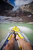 A morning kayaking session at Cavell Pond, Jasper National Park, Alberta, Canada.
