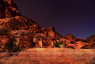 Sandstone Shelter Cabins Beckon on a Desert Night, Valley of Fire, NV