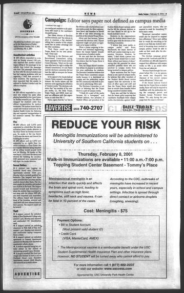 Daily Trojan, Vol. 142, No. 21, February 08, 2001