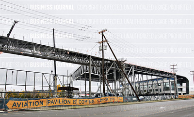 The Aviation Pavilion at the Museum of Flight in Tukwila, Washington is under construction
