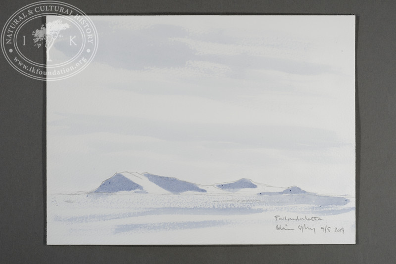 "Salfjellet at Prins Karls Forland seen from the site of the Field Station | 9.5.2019 | ""I want to convey what I see with immediacy and simplicity to make the viewer feel present on the Arctic scene."" 