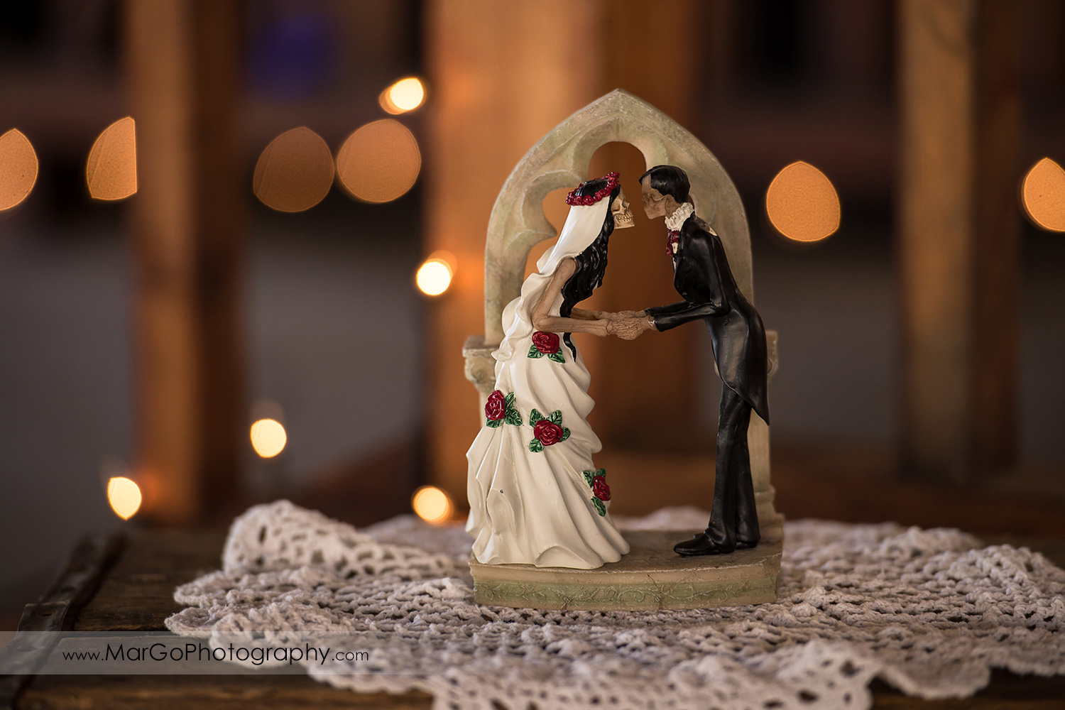 mexican bride and groom wedding cake topper at Taber Ranch Vineyards