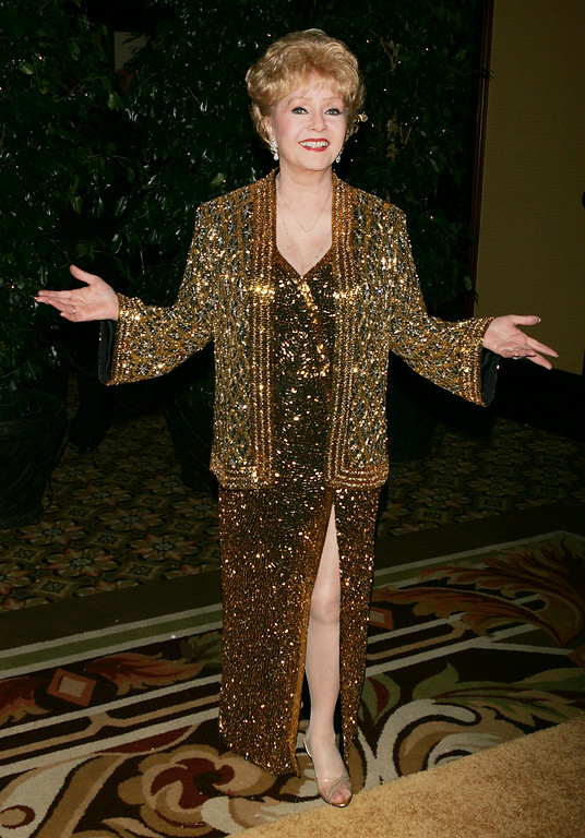 . Actress Debbie Reynolds arrives at the Thalians 50th Anniversary Gala at the Hyatt Regency Century Plaza Hotel on October 8, 2005 in Los Angeles, California.  (Photo by Kevin Winter/Getty Images)
