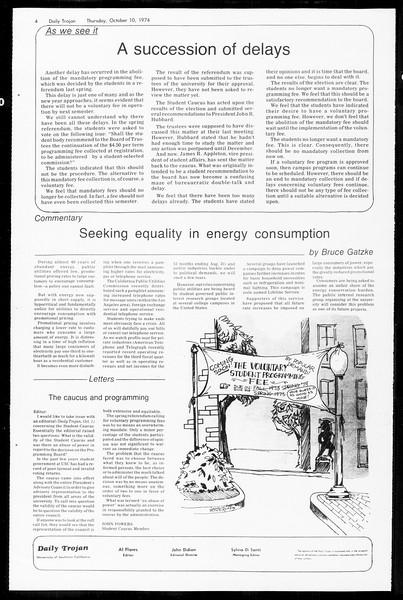 Daily Trojan, Vol. 67, No. 19, October 10, 1974