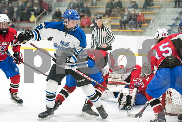 03/01/18 Wesley Bunnell   Staff Hall-Southington defeated EO Smith-Tolland 4-3 in the CCC South semi-final game on Thursday at Veterans Memorial Rink in West Hartford. Jacob Mohr (19).
