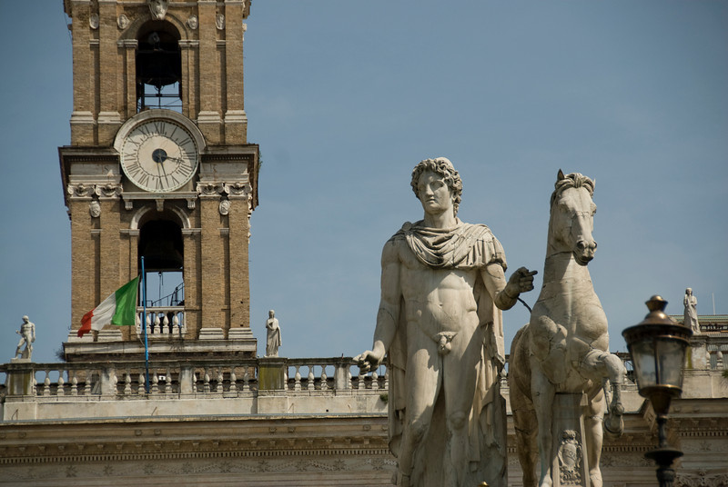 Statue of Pollux with his horse at Piazza del Campidoglio in Capitoline Hill - Rome, Italy