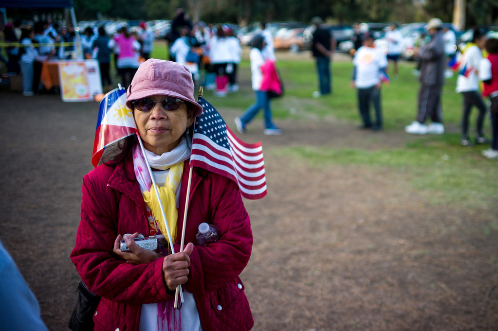 . Walkers wait for the start of a 5k walk for hurricane disaster relief at Balboa Park in Van Nuys, CA Sunday, November 10, 2013.  The ROMAH Foundation, Inc. in partnership with Philippine Disaster Relief Organization held a walk and fundraiser for disaster relief in the Philippines.   ( Photo by David Crane/Los Angeles Daily News )