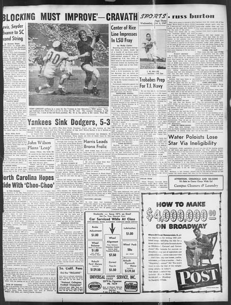 Daily Trojan, Vol. 39, No. 13, October 01, 1947