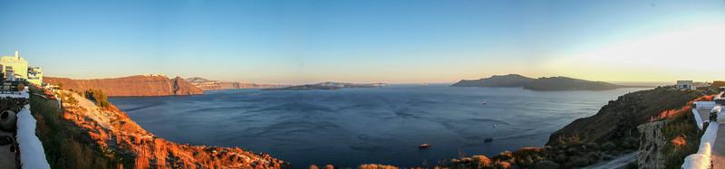 Santorino volcano panorama.