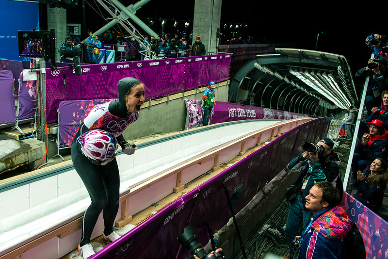 . Noelle Pikus-Pace celebrates after winning the silver medal in the women\'s skeleton competition at Sanki Sliding Center during the 2014 Sochi Olympics Friday February 14, 2014. Pikus-Pace finished with a time of 3:53.86. (Photo by Chris Detrick/The Salt Lake Tribune)