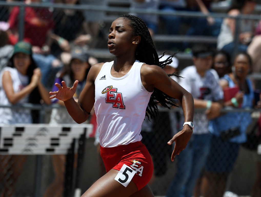 . Arria Minor, Denver East, turns on the after burners on her way to her third victory of the day wining the girls 5A 200 meter dash final at the Colorado Track and Field State Championships at Jeffco Stadium May 21, 2016. Minor won the event with a time of 23.53 (Photo by Andy Cross/The Denver Post)