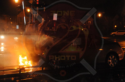 Farmingdale F.D. Car Fire on Railroad Tracks Secatogue Ave. and S. Front St. 3/3/12