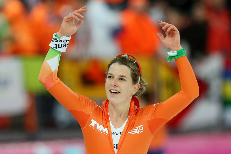 . Ireen Wust of the Netherlands, overall winner of the women\'s event, gestures during the World Speedskating Championships in Hamar in this picture provided by NTB Scanpix February 17, 2013. REUTERS/Hakon Mosvold Larsen/NTB Scanpix