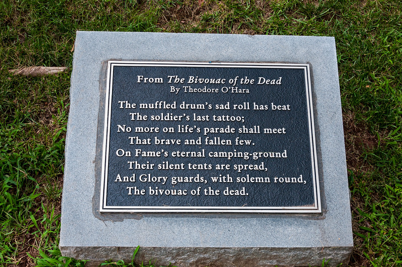 Plaque denoting a few lines from The Bivouac of the Dead. Located near the Ball's Bluff National Military Cemetery in Leesburg, VA.