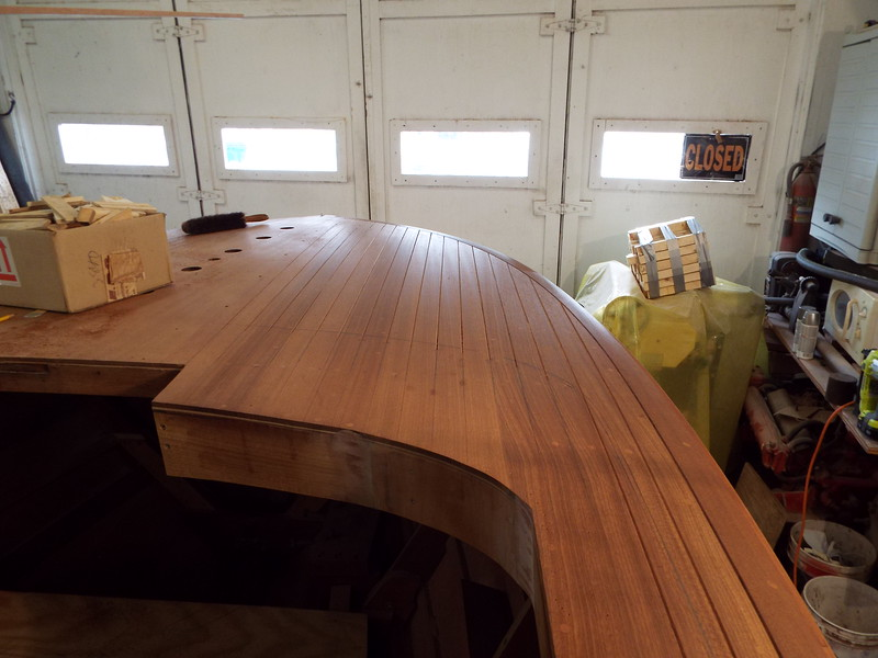 Starboard front deck seams routed.