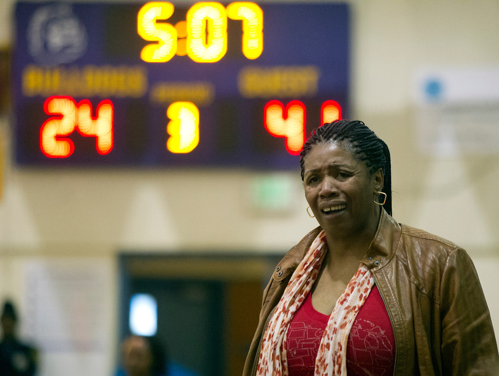 . Oakland Technical High School coach Valerie Hartsfield can\'t hide her disappointment with her team\'s play against McClymonds High School, during the third quarter of their Oakland Athletic League girls\' basketball game, Wednesday, Feb. 20, 2013 in Oakland, Calif. McClymonds won, 62-50. (D. Ross Cameron/Staff)