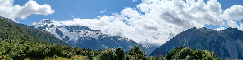 Mt. Sefton and Mt. Cook (behind the clouds)